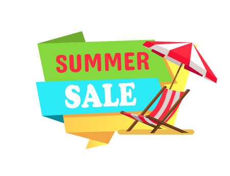 Summer Sale Label Sunbed Chaise Lounge Umbrella  イラスト・ベクター素材