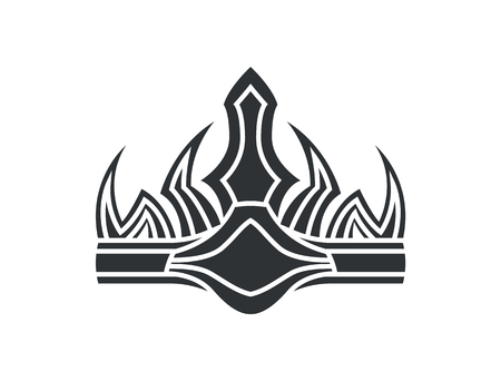 Ancient crown in gothic style. Monarch headdress as symbol of power. Old luxurious accessory design. Noble headwear monochrome vector illustration.