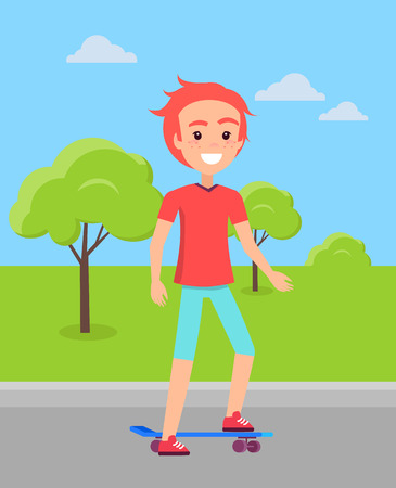 Redhead skateboarder ride skate vector with background of green park that has trees on grass, skateboarding skater in red t-shirt and blue trousers.
