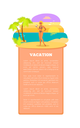 Vacation Hot Summer Poster Tropical Beach Woman
