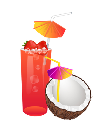 Sweet summer cocktails with strawberries or in coconut. Berry taste drink, straw and umbrella. Alcohol refreshing beverages vector illustrations set.