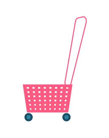 Shopping basket handle with wheels and holes, made of pink plastic, cart for purchases or products vector illustration isolated on white background.