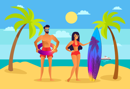 Man near woman on beach with surfboard and inflatable ring. Girl beside guy in swimwear at sandy seaside. People ready to swim vector illustration.