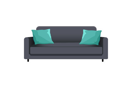 Sofa with pillows collection, interior design and comfortable furniture, cauch of black color that has cushions isolated cartoon vector illustration.