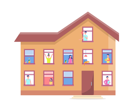 Three Storey House People Windows Vector Building Illustration