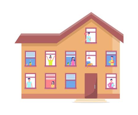 Three Storey House People Windows Vector Building 向量圖像