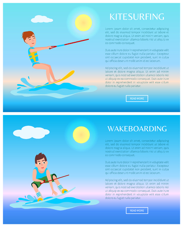 Wakeboarding or kitesurfing sports, color posters, vector illustration, athletic men on surfing boards, text sample, sunny weather and bright sky.