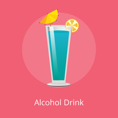 Cute alcohol drink with small decorative umbrella vector illustration of blue beverage with orange slice, cone-shaped glass isolated on red background