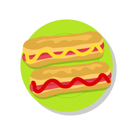 Pair of delicious hot-dogs, vector illustration isolated on bright backdrop, ketchup and mustard stripes, green plate, tasty sandwiches, hot-dog buns. Illustration