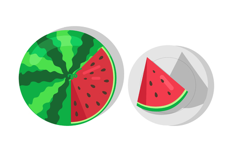 Sweet juicy watermelon and cut piece of watermelon on plate vector illustration isolated on white. Red fruit with nlack seeds, summer watermelon berry