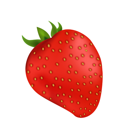 Delicious organic strawberry with small leaves. Sweet berry that has bright skin. Natural tasty product full of vitamins isolated vector illustration.
