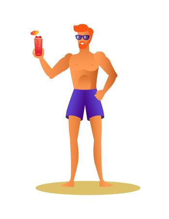 Sportif sexy athlétique en tissu d'été s'amusant