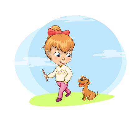 Walking dog activity of girl, natural clouds on sky good mood and friendly atmosphere, pet outdoors vector illustration isolated, white background