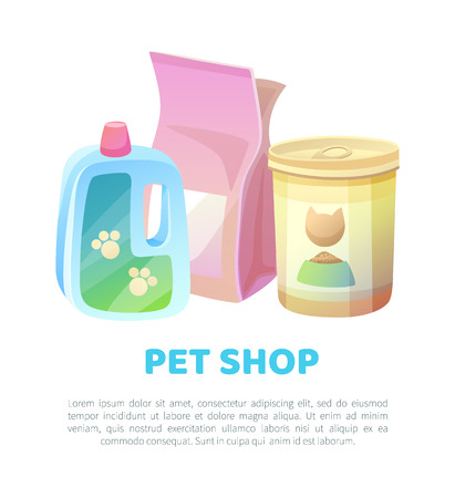 Pet shop banner food and cat filler for toilet, shampoo cleaning moisturizer, products at domestic animals store, text sample and headlines, vector