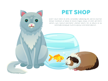 Pet shop banner various animals and text, vector illustration with cat and golden fish in glasses bowl, cute cavy pets collection home kitten