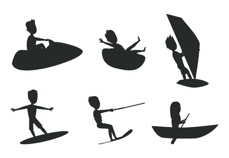 Summer sport set of silhouettes, donut ride and boating, kitesurfing or windsurfing, surfboard for water activity flat vector illustration isolated. Иллюстрация