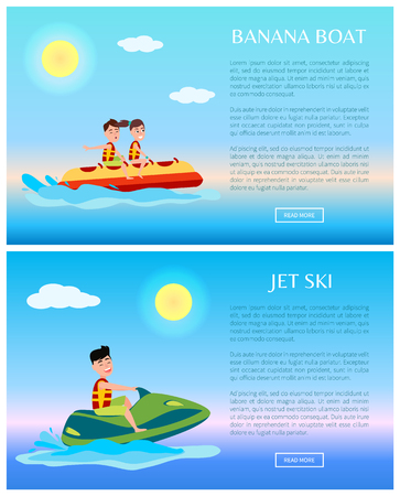 Banana boat and jet ski colorful illustrations, vector of modern sport scooter with rubber fruit-shape vessel, text sample, water splashes from waves.