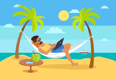 Uomo sdraiato sull'amaca con il taccuino, cocktail tropicale sul tavolo, libero professionista e palme, nave su sfondo di lavoro distante e vettore di concetto freelance