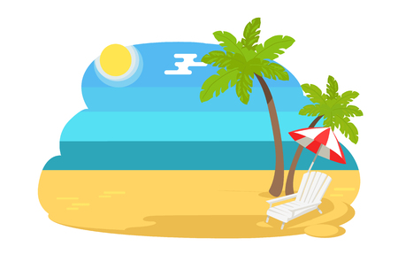 Seaview seascape with tropical beach, chaise longue under striped umbrella, hot summer vector sand, two palm trees and blue sea or ocean on coastline Ilustração