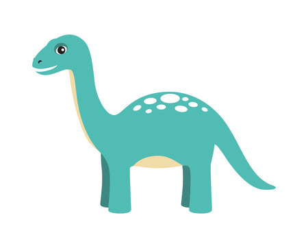 Apatosaurus dinosaur type, reptile with long neck and tail, friendly cartoon animal and calm image vector illustration, isolated on white background Stock Vector - 111592800