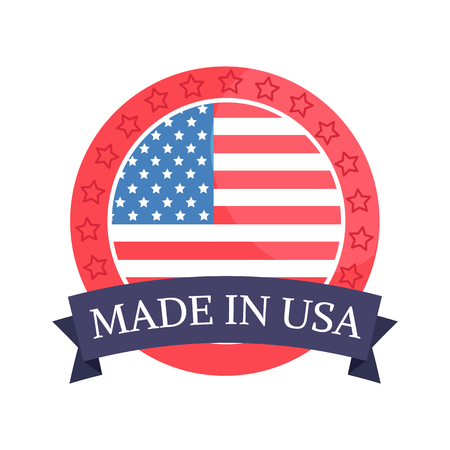 Made in USA sticker headline and flag with frame, American drapeau of stars stripes vector illustration patriotic symbol, isolated on white background