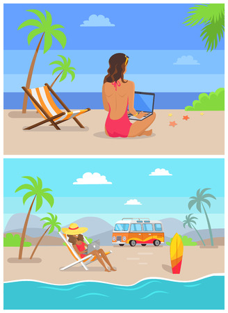 Work by seaside freelance set woman with laptop sitting on sand surfing board and travelling trailer, freelancer at coastline vector illustration