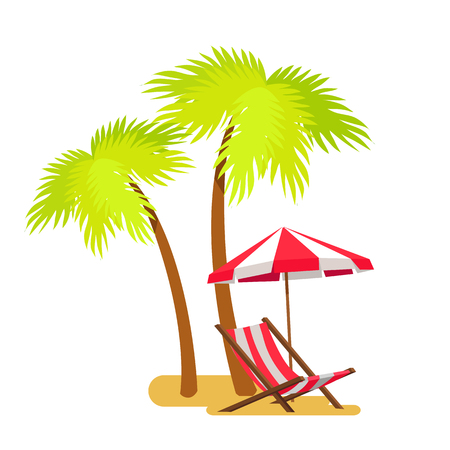 Abstract summer beach, lounge and palm tree vector illustration, white background green leaves of tropical trees striped umbrella over chaise