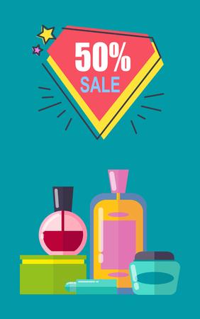 Sale -50 Off Cosmetics Set Vector Illustration Standard-Bild - 107112996