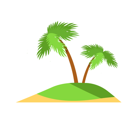 Island pattern palm trees and green grass color vector illustration isolated on white background, small land with yellow sand, tropical exotic plants