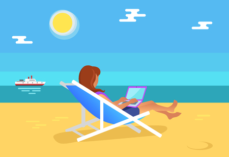 Summertime illustration freelancer woman, distant worker sitting on hammock working laptop, advantage of freelance, office at coastline, sea view