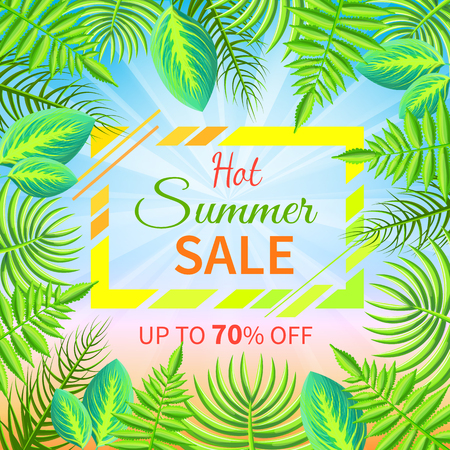 Hot summer sale up to 70 off tropical paradise advertisement poster green palm trees, exotic fresh plants vector illustration banner with frame.