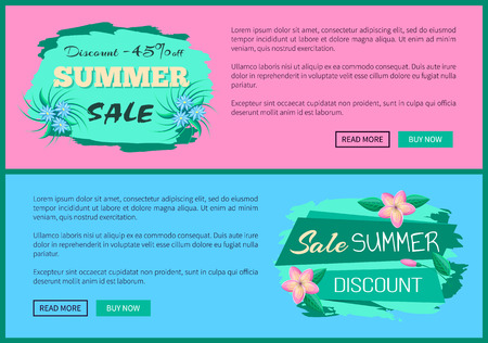 Discount 45 off summer advertisement label, gentle flowers, promo sticker design, sale tag emblem with info about discounts vector web poster vector. Illustration