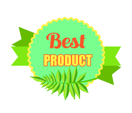 Best Product Bright Promo Logotype with Palm Leaf