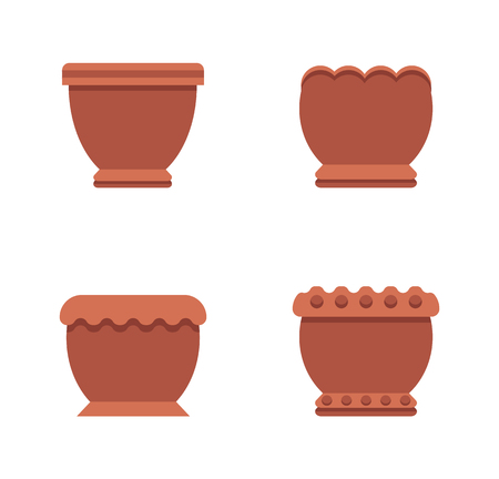 Pots of Brown Color Collection Vector Illustration