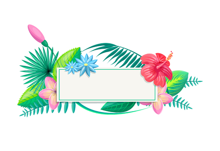 Tropical frame and flowers, foliage with leaves, border decorative floral elements, set of plants on poster place for text vector illustration isolated on white Illustration