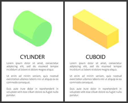 Cylinder and cuboid posters set with text sample, shapes 3d figures banners, vector illustration isolated on yellow background, geometry concept
