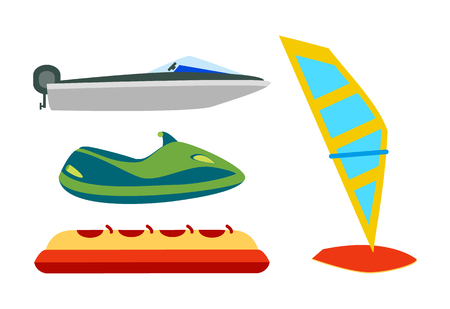 Water transport with equipment cartoon icons set, motor boat or jet ski, inflatable banana and windsurfing board isolated on white, vector illustration. Illustration