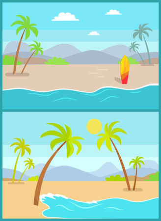 Coastline poster with tropical beach, sea sand palm trees, mountains and sunset on background, exotic island vector coast surfing board at seashore