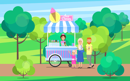 Ice cream stand in green park trees and bushes, candies shop family with child, people having fun outdoors activities vector illustration outdoors