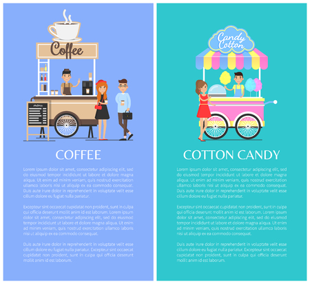 Coffee shop and cotton candy kiosk cute vector templates, colorful illustration with street food vans, confectionery hot drinks, cheerful customers