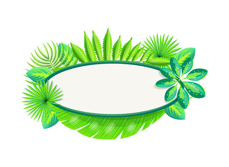 Empty banner frame of tropical palm leaves. Poster with blank space for header and exotic branch. Floral pattern on leaflet vector illustration.