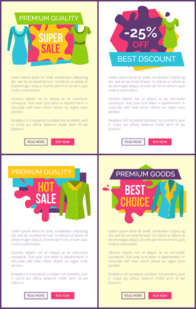 Hot sale on products of premium quality goods for stylish clothes, emblems with apparel set. Exclusive clothing reduction vector web page online posters