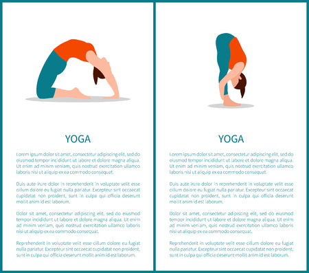 Yoga poses banners collection with text sample, headlines or titles, woman activities and sport, vector illustration isolated on white background. Ilustração