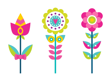 Bright creative flowers with colorful petals set. Ornamental bloomings big buds on thin long stems. Floristic decorations vector illustrations.