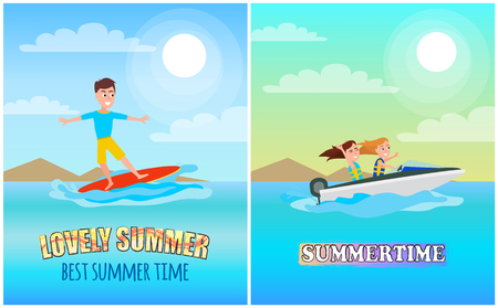 Best summer time color poster, vector illustration, lovely summertime banner, boating sport with surfing man, red board and speed boat, sunny harbour.  イラスト・ベクター素材