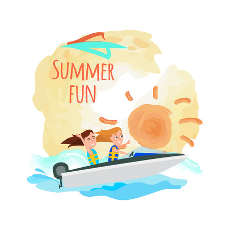 Summer fun promo poster with boating girls, water activity at summertime, women having great time while riding boat in seawater, vector illustration.