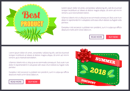 Best goods bright promo leaflets set with exotic plants. Commercial label tropical leaves. Product of high quality sticker isolated vector web poster Illustration