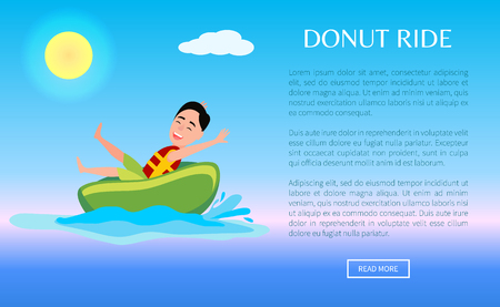 Donut ride web poster design with boy having fun, summertime activity, inflatable ring at seawater, male riding on rubber device in splashes of sea.