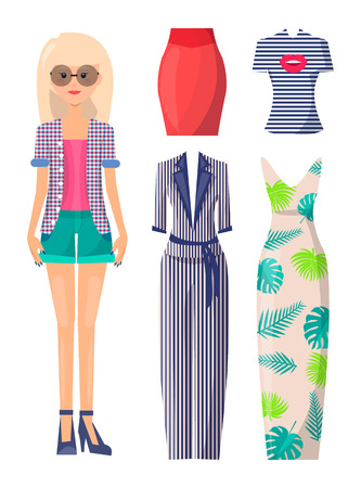 Blonde in round sunglasses with clothes set. Young girl has summer outfits. Female character and spare dress or suit cartoon vector illustrations. Standard-Bild - 111592846