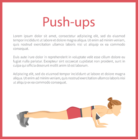 Push ups poster with text sample and headline, information in frame of red color, tabata exrecises vector illustration isolated on white background.